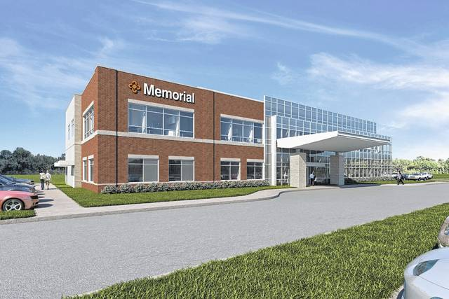 This is a rendering viewed from the southwest of Memorial Urbana Medical Center, scheduled to open for service April 30. An Open House is slated for April 26.