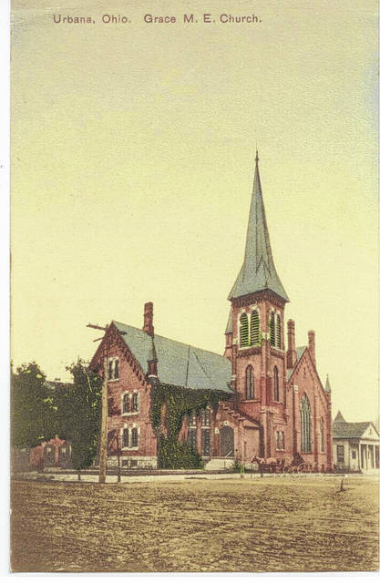 Then – Circa 1900 (#A1326) photo of the Grace Methodist Church located on SW corner of South Main and West Market Streets, Urbana, Ohio. The Urbana Public Library on W. Market Street is visible on the right side of the photo. The church building was dedicated on June 22, 1879, by Bishop Bowman of St. Louis. The bishop said he had dedicated 800 churches and that this was the first one to be free of debt: nor had any other equaled it in beauty, neatness, and convenience for worship. In 1854 it was decided to organize a second church in Urbana as the Methodist Church at the corner of N. Main and Church Streets had grown to a membership of 432 which was regarded as being the limit in size for any one church. Grace Methodist Church served as the Second Methodist Church in Urbana. It was razed in 1931 and U. S. Post Office was erected on the site in 1932. History of the Urbana Methodist Church from 1804 to 1981, by The History Committee, Carl R. Robinson, Minister, Marvin Humphrey, Margaret Beatty Brandeberry, and Frances Bancroft, Church Historian.