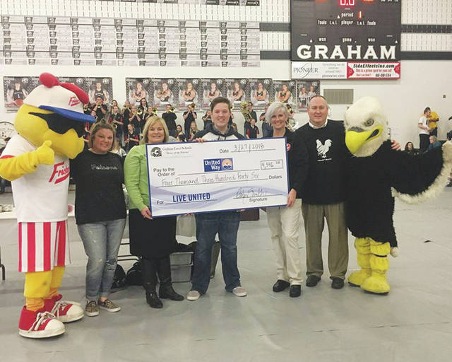 Graham Local Schools held a wing eating contest March 27 to raise money to support the United Way of Clark, Madison and Champaign Counties. Following the contest, the district presented a $4,346 check to the United Way.