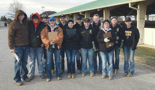 Pictured from left to right are Livestock team members Nate Violet, Levi Adams, Ross McNary, Emma Violet, Noah Wolf, Taylor Ruff, Jennifer Wallace, Hanna DeLong, Morgan Hamby, Jaycie Patterson, Grace Forrest, Morgan Heizer.