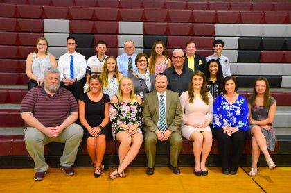 Honored seniors and their chosen teachers are, from left, front row, Chuck Pack, Magdaline Perry, Cortney Kiser, Rusty Myers, Kim Asper, Leigh Ann Simpson, Cassidy James, 2nd row, Kirstin Lewis, Katie deNijs, Mike Mays, Taje´Mack, back row, Bronwyn Walker, Jason Schelle, Logan Rooney, Aaron Pittsenbarger, Megan Ridder, David Sapp, Hudson Stouffer. Not pictured: Kaleb Bowdle, Miranda Layne and Amanda Goodwin.