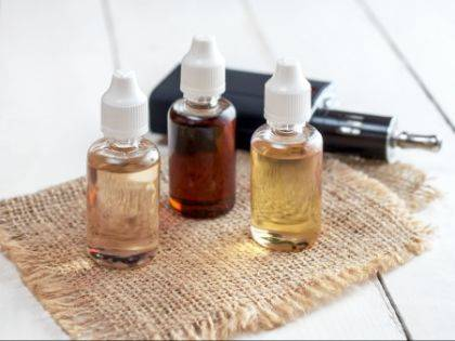 This photo shows various flavors of liquid nicotine for use in electronic cigarettes.