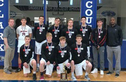9th grade Black basketball team took 2nd place the weekend of April 21-22 at the Southwest Ohio Championship in Cincinnati. Front row: Ayden Sanford (Triad), Landen Hunt (Ben Logan), Kam Smith (Bellefontaine), Dalton Hannahs (Graham). Back row: Asst. Coach Ryan Hunt, Nolan Smith (Urbana), Riley Karnes (Marysville), Ryan Barlow (Marysville), Zack VanScoy (Graham), Jayden Streets (Ridgemont), Tanner LeVan (West Liberty), Head Coach Jason Randolph. Not pictured: Christian Ochs.