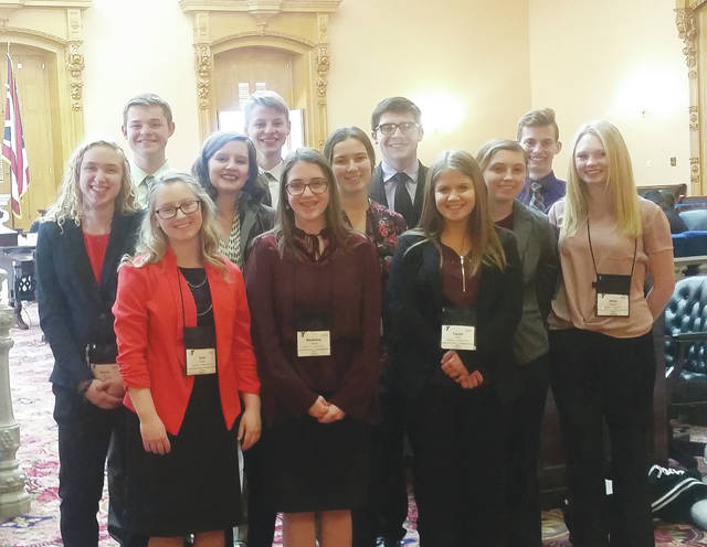 Graham High School students are pictured on the floor of the Ohio Senate. A group of 12 students visited the Ohio Statehouse in March as part of the YMCA's Youth in Government program.