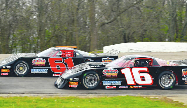 Pictured above are Mike Ward (61) of Urbana and Nic Burnside (16) of West Liberty. The teammates will be hand to run in the Nagel Excavating late model series tonight at Shady Bowl Speedway.