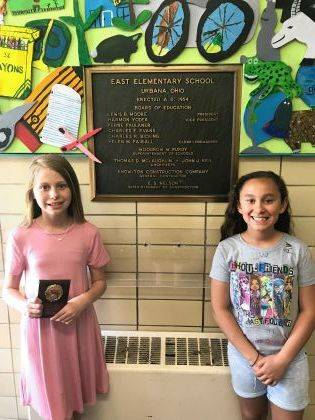 4th graders Camri Lantz and Alicia Venneman are Urbana East Students of the Month.