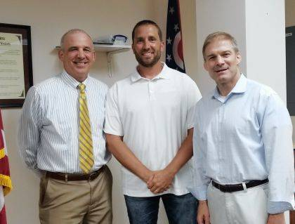 From left are state Sen. Matt Huffman, Champaign County Republican Club President Doug Hoffman and U.S. Rep. Jim Jordan.