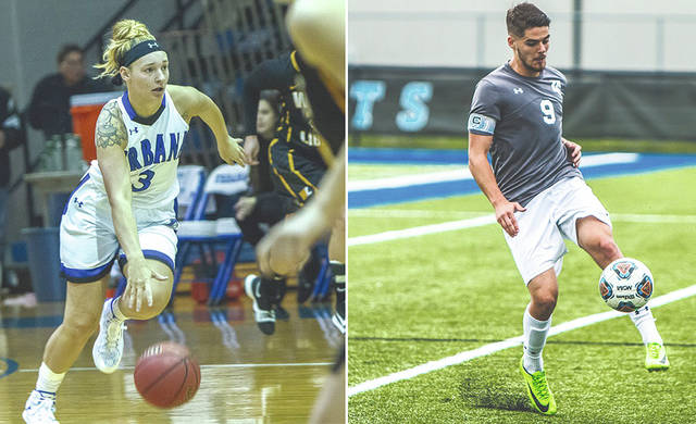 UU's Danie Shafer (left) and Thibaut Bourrier are finalists for the Mountain East Conference Scholar-Athlete of the Year Award.