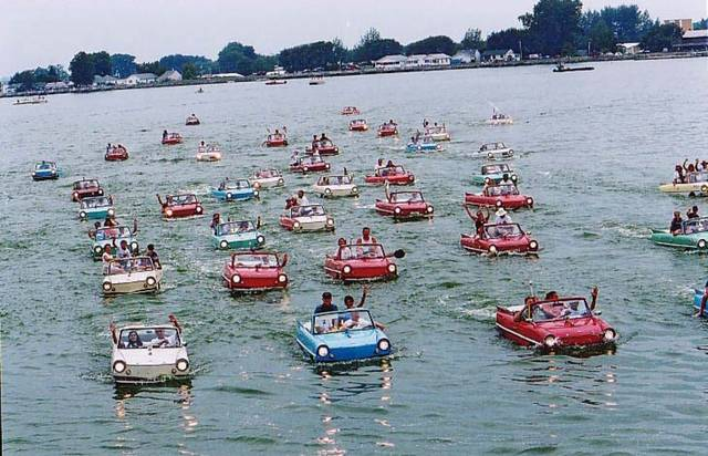 """Are those cars on the lake? Or, are they boats? They're both actually, all in one! It's called a Amphicar and Ohio is sort of the mecca of these quirky, """"fish out of water,"""" vehicles that drive on land and water."""