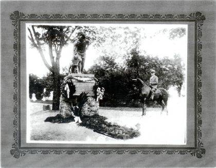 This photo shows the dedication of the Indian Hunter statue in Oak Dale Cemetery in 1914.