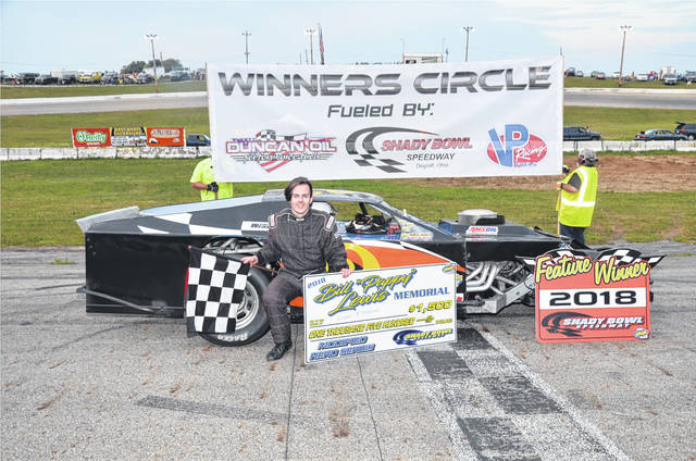Logan McPherson (pictured) claimed his second straight feature and third overall in the Biggins Small Engine Repair Modifieds by winning the Lewis Memorial on Saturday at Shady Bowl.
