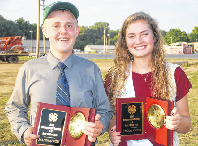 The 4-H Boy of the Year is Jack Harris and the Girl of the Year is Elizabeth Schipfer.