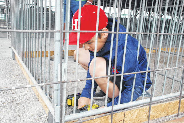 Dominic Spina of Hilliard works on the pen area for his sheep exhibit in advance of the Champaign County Fair, which begins Friday, Aug. 3. Spina is a junior fair exhibitor.