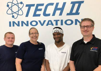 Corey Ford, a 2018 Graham graduate and CRSI Strive Vocational Internship Program (VIP) participant, has been hired by Tech II as a full-time Thermoforming Press Operator at the Upper Valley Pike location. From left are Isaac Garrison, Dianna Mapp, Corey Ford, Tech II, and Greg Rains, CRSI.