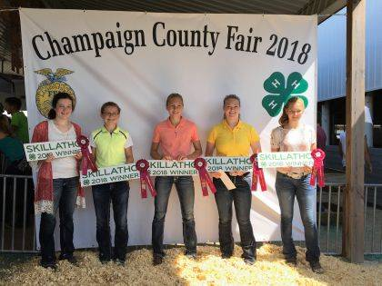 The intermediate swine skill-a-thon at the county fair had 5 girls with perfect scores who also got all the bonus questions right. This means they knew the meat cuts of a pig, types of grains, ear notching, breeds of swine, hog anatomy and breed characteristics. The girls are, from left, Dena Wilson, Lauran Bailey, Grace Forrest, Stephanie Selvaggio and Ella Forrest.