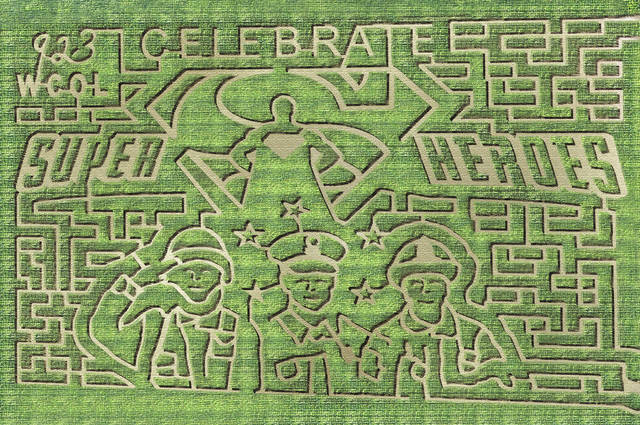 """This year's corn maze theme is """"Celebrating Superheroes"""" at at 8657 Axe Handle Road south of Marysville."""