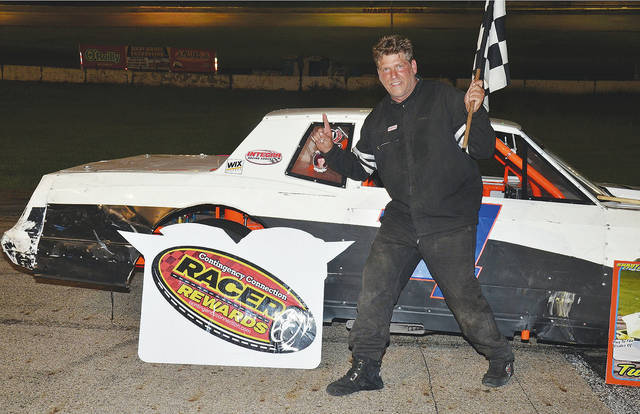 Jason Mahaffey (pictured) won the Shawn Stansell Memorial 96-lap street stock feature at Shady Bowl on Saturday.