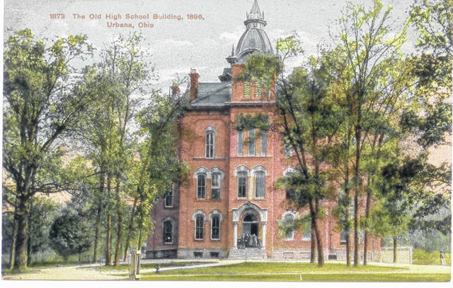This is an 1896 postcard photo of the Urbana High School building built in 1879. The building burned in 1897 and was replaced at the same location by &#8220;The Castle&#8221; (#0158), first occupied 1901-1902. During the interim before The Castle building was completed, the Curry Institute building on East Water Street (#A1837) was used. As the new Urbana High School building comes into service it is interesting to look back on the buildings that preceded it. <em>The Champaign County Historical Society is an all-volunteer, not-for profit organization that preserves, protects, archives and displays the artifacts that tell the Champaign County story. The society depends upon donations and dues to provide a free public museum, which is open 10 a.m.-4 p.m. Mondays and Tuesdays and 1-4 p.m. Sundays.</em>